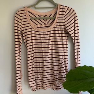 free people | pink and maroon striped shirt